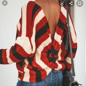 Megan Striped Twist Back Sweater from Vici